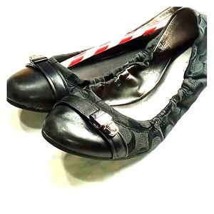 Coach signature black slip on flats size 7.
